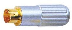 Conector Mini Din Macho 4P metal dorado